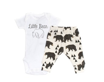 Little Bear Newborn Take Home Outfit, Geometric Bears Leggings, Baby Leggings, Newborn Going Home Outfit, Organic Baby Clothes