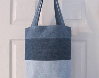 Upcycled Jeans Denim Lined Large Shoulder Tote Bag