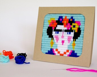 Frida Kahlo design embroidery kit for kids and adults - embroidery kit for beginners, DIY kids kit - birthday gift craft kit