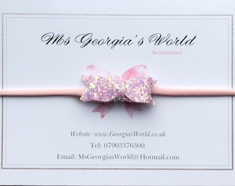 Colour: Baby Pink Sparkle. Beautiful Extra Stretch, Soft Baby - Adult Hairband. Fits ALL ages!