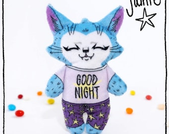 Good Night Jamie the Cat- Illustrated cat doll - Soft Minky plush stuffed animal