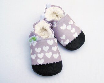 Eco-Canvas Vegan Lavender Hearts / non-slip soft sole baby shoes / made to order / Babies Toddlers Preschool