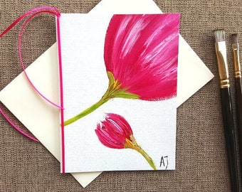 Oil painting Canvas art Greeting card Tulip card Flower card Unique card Unique greeting card Flower art Tulip art Pink card Pink flower Art