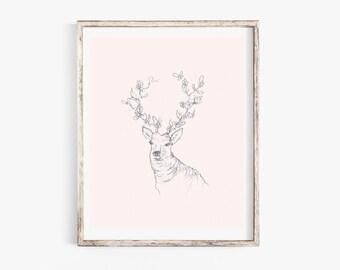 """Floral Elk 8x10"""" Art Print"""