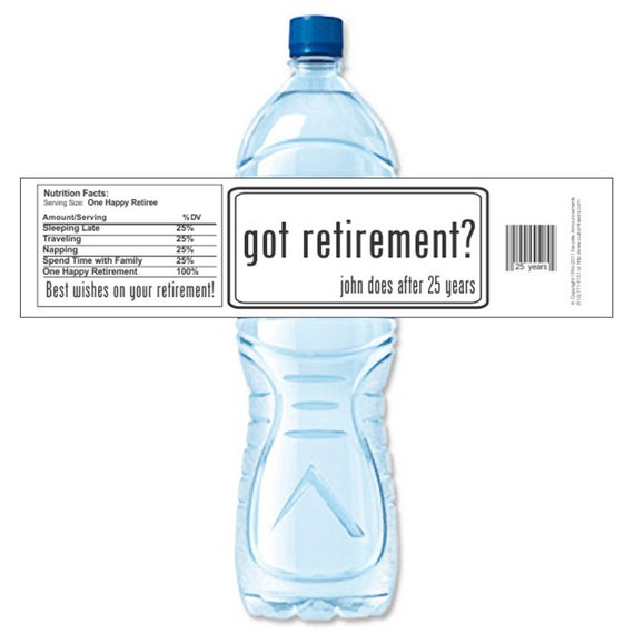 Retirement Labels Water Bottle Labels Custom Labels