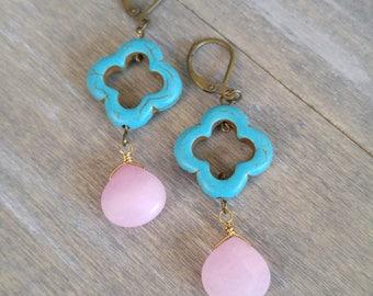 Turquoise earrings, pink drop earrings, statement earrings, quatrefoil earrings, stone earrings, pink jade teardrops, boho, dangle earrings
