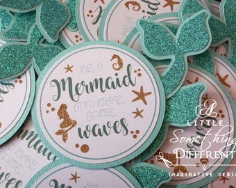Mermaid Favor Tags / Mermaids / Beach / Birthday / Summer / Teal / Gold / Aqua / Gift Tags / Glitter / Tags with Tail / Thank You Tag