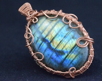 Labradorite - Wire wrapped copper wire pendant