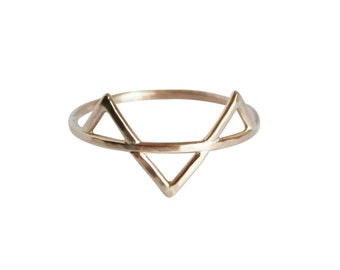 Geometric Ring, Three Gold Spikes Ring, Thin Gold Ring, Triangles Ring, Solid 14K Gold Ring, Gold Fill Ring, Three Gold Spikes Ring, Midi