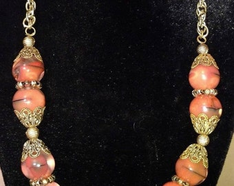 Vintage Orange and BlackeGlass Bead Necklace - 19.25 inch wonderful Vintage Necklace orange and black swirled glass beads