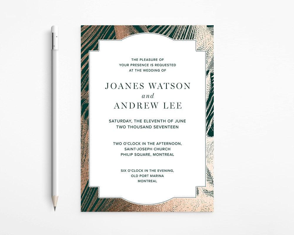 Elegant Rose Gold and Emerald Green / Foil Marble Wedding Invitation ...