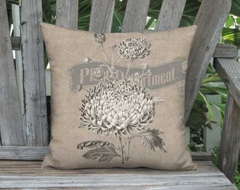 16x16 Inch READY TO SHIP - Americana Rustic Country Flower Pillow with Insert - Linen Cotton Grain Sack Style Farmhouse Pillow