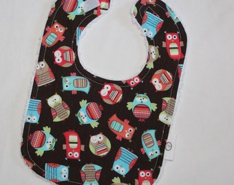 Brown Hootenany Owls Chenille Boutique Bib