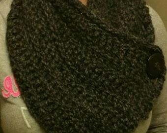 Women's Crochet Chunky Scarf/Wrap/Neckwarmer with Button.  Cute & Warm