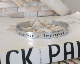 "Handstamped ""Perfectly Imperfect"" Cuff Bracelet"