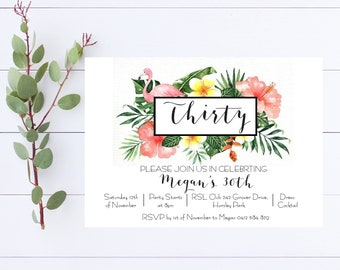 Printable 5x7 Custom Birthday Invitations Tropical 21st, 30th, 40th, 50th, 60th, Beach Party Flamingo