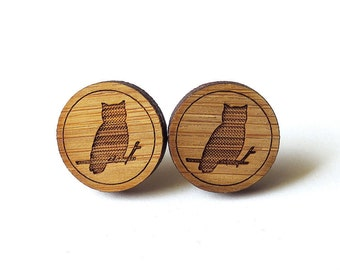 Wise Owl Earrings. Owl Earrings. Wood Earrings. Stud Earrings. Laser Cut Earrings. Bamboo Earrings. Gifts For Her. Gift For Women. For mom.