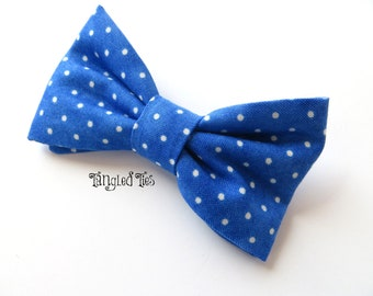 Bow Tie, Royal Blue For Boys, Men, Teen, Toddlers With Tiny White Polka Dots For Weddings and Events  in 100% Designer Cotton
