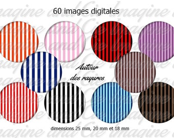 Around the stripes / Cabochon digital image instant download collage sheet digital bottle cap printable instant download