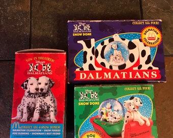 Lot of three McDonalds Walt Disney 101 Dalmatians snow globes New In Boxes 1996