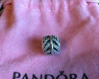 ON SALE Genuine Pandora Sterling Silver Light As A Feather Clear Cz Charm Bead *New* 791186Cz