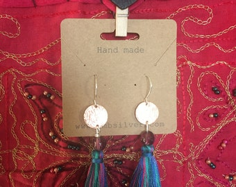 Multicoloured silver tassel earrings