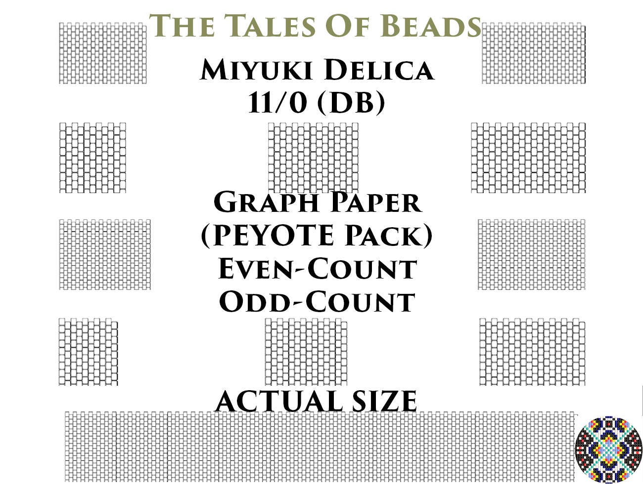 11/0 Miyuki Delica Beading Graph Paper Actual Size Peyote OR