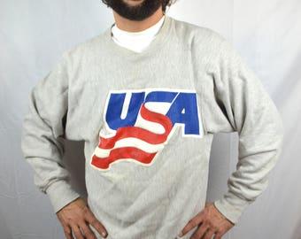 Vintage 1980s 80s Gray USA Sweatshirt