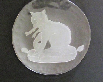 Vintage Etched Clear Glass Cat Plate