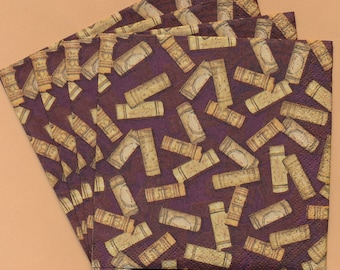 PN097B Paper Napkins by Hoffmaster ~ 5x5 Wine Corks ~ Set of 4