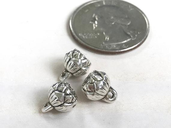 Small Lotus Charm, Mala Bead Charm, Yoga Jewelry Charm, Silver Lotus Charm For Bracelet
