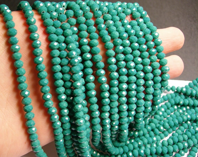 Crystal faceted rondelle - 90 beads - 6 mm - A quality - emerald green - full strand - DAC54