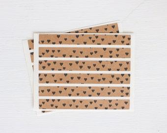 kraft sticker strips - heart confetti