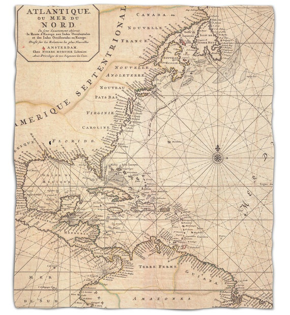 Old world nautical chart fleece throw blanket map blanket gumiabroncs Choice Image