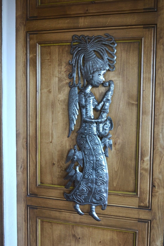 """Recycled Metal Garden Angel Playing Music Wall Art, 9.5"""" X 34"""""""
