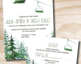 Watercolor Chairlift Gondola Wedding Invitation and Response Card, RSVP Invitation Suite