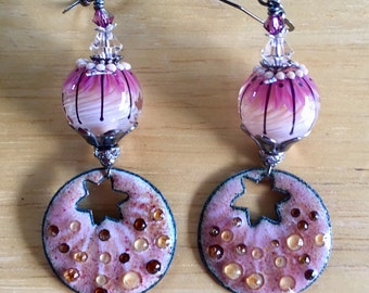 Lampwork and Enamel Dangle and Drop Earrings