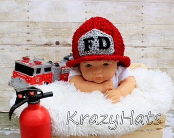 Crochet Firefighter Hat.Made to order.