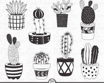 "Hand draw Cactus clip art ""CACTUS CHALKBOARD""pack, Succulent, Tribal , Cacti, Cactuses pots, Potted Plants.16 images Png files 300 dpi.Ct004"