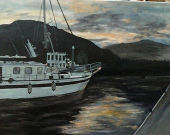Oil on wrapped canvas sides painted night sky reflecting off water Seward Alaska 18x24