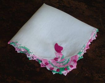 Southern Belle Hankie Vintage Linen Handkerchief with Hand Crocheted Southern Belle in Bright Colors Posy in Hand Flowers on Skirt c1940