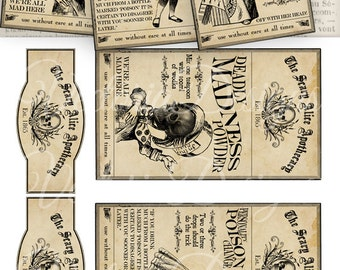 Scary Alice in Wonderland Apothecary Labels Tags printable images instant download digital collage sheet VD0464