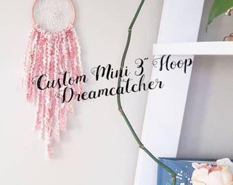 dreamcatcher, dream catcher, nursery baby dreamcatcher, personalized baby shower gift favors, mini pink purple white bohemian dreamcatcher