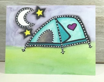 Camping Tent - Blank Greeting Card - Any Occasion