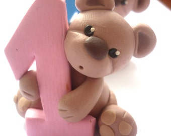 First Birthday cake topper - Bear cake topper handmade with polymer clay - baby shower gift