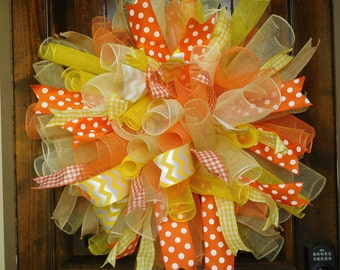 """XL Wreath Made from Mesh Spirals in Bright Orange, Yellow, Cream and Tan - 31"""" diameter - Spring - Summer - Birthday - Fall - Candy Corn"""