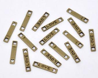 LOVE 10 connectors in antique bronze