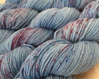 Speckled Yarn, DK Yarn, Superwash Merino Wool with Nylon, Blue Yarn, PK Yarn, Just Like Strange Rain, Speckled DK Weight Yarn, 4 Ply Yarn