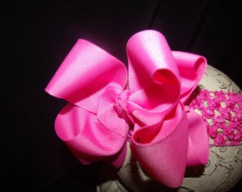 SASSYLILPRINCESSES..Double Hot Pink Boutique Bow and Interchangeable Headband