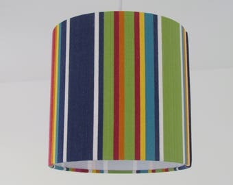 NEW Bold Deckchair Stripe Stripey Navy Lime Pink Lampshade Lightshade